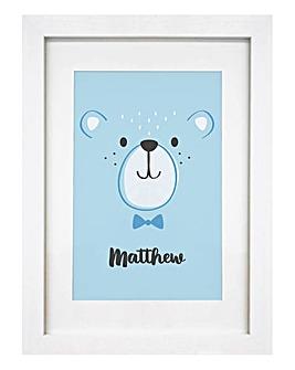 Personalised Blue Bear Wall Art