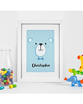 Personalised Blue Bear Wall Art