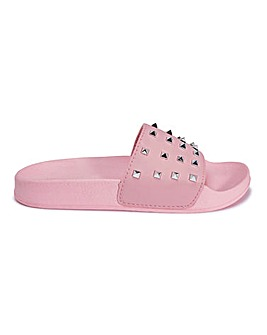 Pink Studded Slider Wide Fit