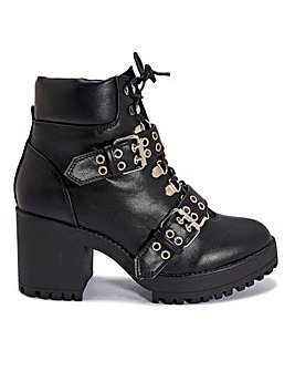 Buckled Biker Lace Up Boots Standard Fit