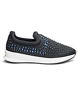 Heavenly Soles Diamante Detail Leisure Shoes Extra Wide EEE Fit