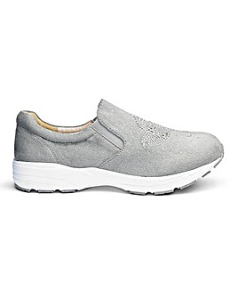 Heavenly Soles Diamante Slip On Shoe Wide E Fit