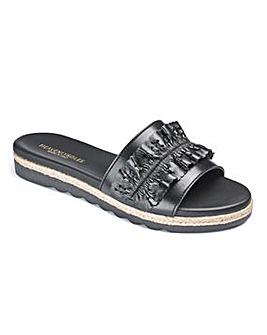 Heavenly Soles Leather Ruffle Mule Sandals Standard D Fit