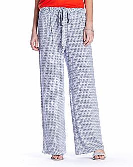 Print Jersey Wide Leg Trouser Ex Short