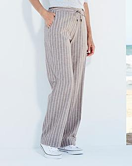 Stripe Linen Mix Trousers Extra Short