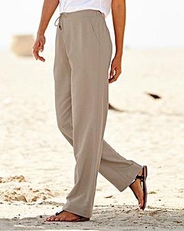 Linen Mix Straight Leg Trousers - Extra Short