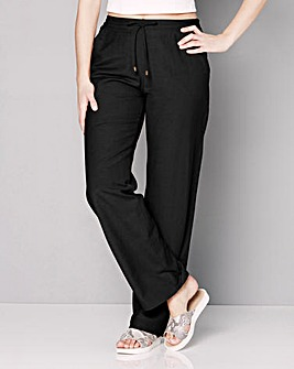 Linen Mix Straight Leg Trousers - Extra Short