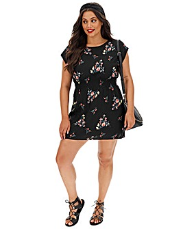 Apricot Printed Skater Dress