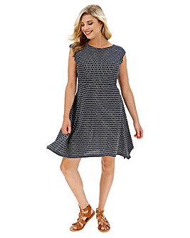 Apricot Tie Waist Jersey Dress