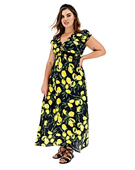 Apricot Maxi Lemon Print Dress