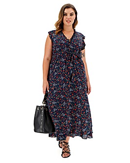 Apricot Floral Print V-Neck Midi Dress