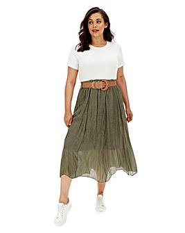 Apricot Crinkle Belted Midi Skirt