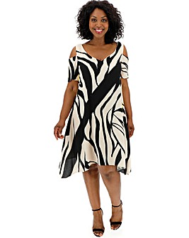 Live Unlimited Print Cold Shoulder Dress
