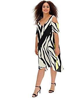 Live Unlimited Print Cold Shoulder Dress
