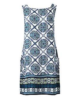 Apricot Print Sleeveless Tunic Dress