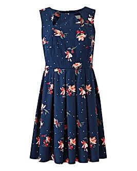 Apricot Floral Skater Dress