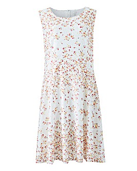 Apricot Floral Overlay Skater Dress