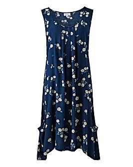 Apricot Floral Print Asymmetric Dress