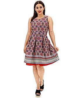 Apricot Mixed Print Skater Dress