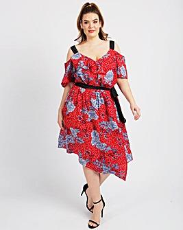 KOKO Floral Cold Shoulder Frill Dress
