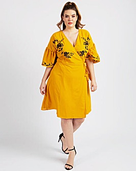 KOKO Wrap Embroidered Dress