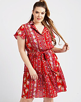KOKO Print Tie Belt Dress