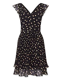 Oasis Spot Pleated V Neck Dress