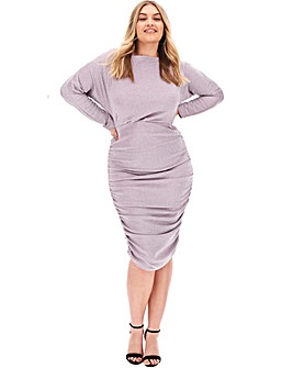 AX Paris Glitter Ruched Bodycon Dress