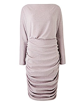 AX Paris Slash Neck Glitter Ruched Dress