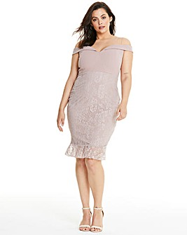 AX Paris Lace Contrast Frill Hem Dress