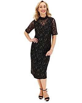 Junarose Lace Overlay Below Knee Dress