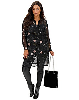 Junarose Moon Print Long Shirt