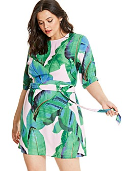 AX Paris Tropical Belted Skater Dress
