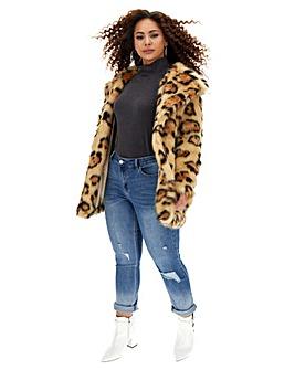 Glamorous Faux Fur Leopard Print Coat