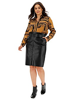 Vero Moda Leather Look Belted Skirt