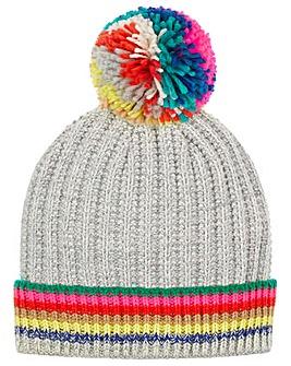 Accessorize Rainbow Stripe Pom Beanie