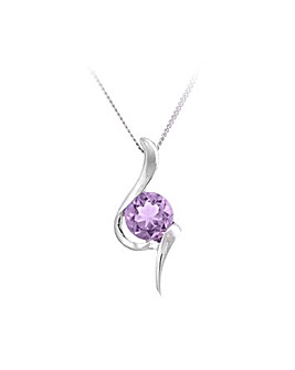 Sterling Silver 1.5Ct Amethyst Pendant