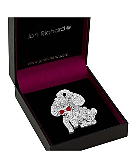 Jon Richard Pave Dog With Red Bow Brooch