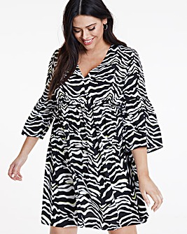 Neon Zebra Print Smock Dress