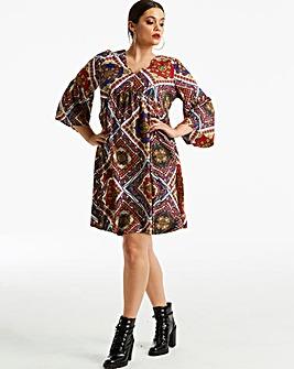 Tile Print Smock Dress