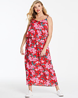 Pink Floral Layered Maxi Dress