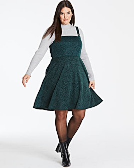 Green Leopard Print Pinafore Dress