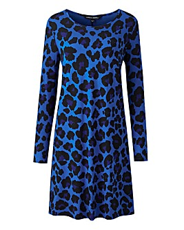 Blue Leopard Swing Dress