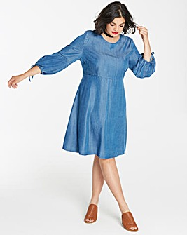 Soft Lyocell Denim Smock Dress with Fluted Tie Sleeve Length 37in