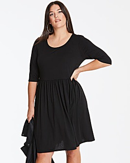 Black Jersey Smock Dress