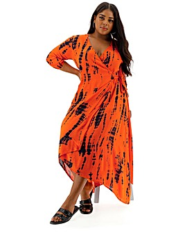 Crinkle Tie Dye Wrap Dress
