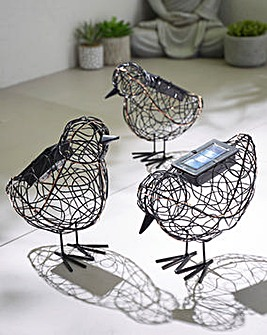 Set of 3 Solar Wire Birds