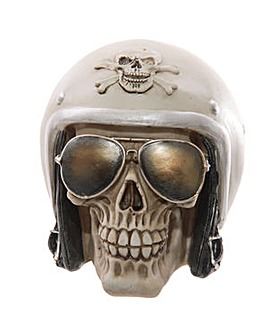 Novelty Skull with Helmet and Sunglasses