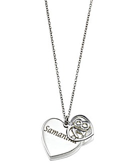 Sterling Silver Personalised Double Heart Special Age Pendant
