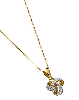 9 Carat Gold Diamond Knot Pendant